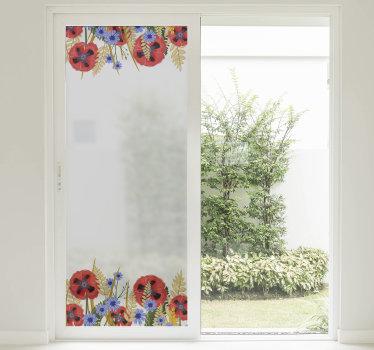 stickers de cadre de fenêtre facile à appliquer créé avec une plante de pavot de jolie couleur qui peut être appliqué sur la surface de la fenêtre du salon.