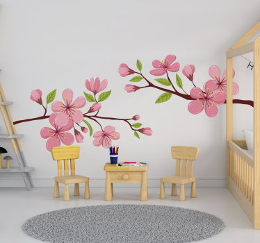 Decorative and easy to apply wall decal of a bloomy spring flower from it tree branch in colourful style to beautify the wall surface in the home.