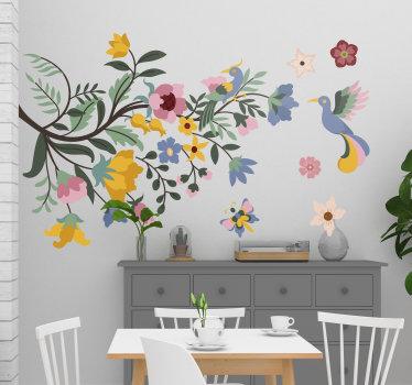 Adesivo da parete floreale facile da applicare di fiori primaverili con fiori piuttosto floreali in diversi colori con farfalle e uccelli in superficie.