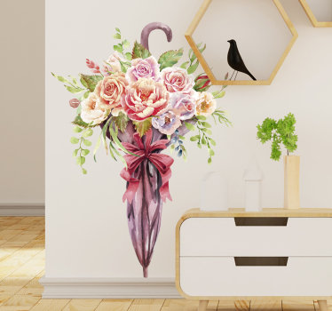 Easy to apply wall art sticker of a spring flower in an umbrella, knot with a ribbon like a girt that you will love on your living room wall .