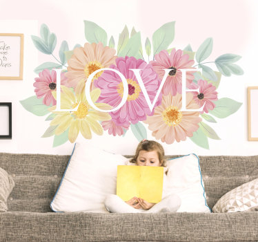 Easy to apply decorative wall decal of flower with text '' love'' in petty colours that you will love. You can have it in any size of your choice.