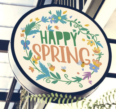 Easy to apply self adhesive decorative spring banner sticker with flower and the text '' happy spring '' you can apply it on nay flat surface.