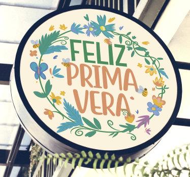 """Adhesivo de pared decorativo de flores fácil de aplicar de primavera con el texto """"feliz primevera"""". Fácil de colocar y con medidas personalizables."""