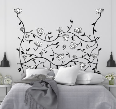 Buy our easy to apply wall art flower sticker that is created with a well patterned ornamental flower to decorate the bedroom.