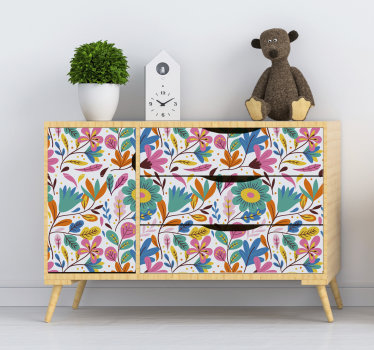 Easy to apply decorative spring flower furniture decal for kids space that has a lot of flowers on it in pretty colours that children love.