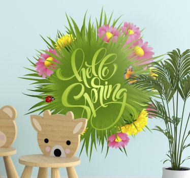 Adhesive kids bedroom wall decal of spring flower with text '' hello spring and beetle, butterfly in very beautiful colours. Easy to apply on surface.