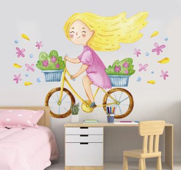 Easy to apply illustrative children wall decal created with a pretty spring flower bike with a little girl riding on it.