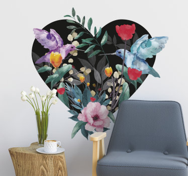 Self adhesive spring flower  wall sticker created on a heart shape with birds in beautiful colours that will beautify the living room wall surface.
