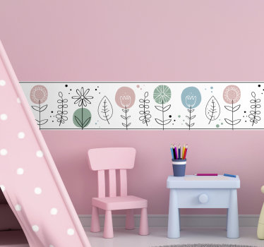 Easy to apply adhesive wall decal boarder created with flower ornament for kids bedroom. This design is contained flowers,leaves and special features.