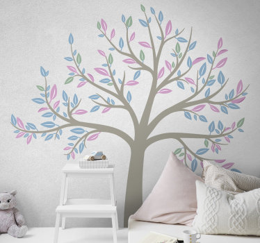 Easy to apply adhesive wall art decal of a spring tree garden in beautiful colour to decorate the bedroom of children. You can chose a preferred size.