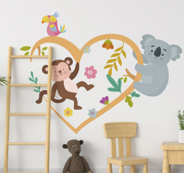 Buy this easy to apply adhesive children bedroom wall sticker of koala and monkey playing on a heart shape with flowers .