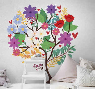 A decorative bedroom wall art decal of  true love tree that host in it beautiful petals, flower and leave in a love statement and attraction.