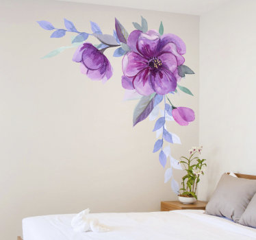 Easy to apply bedroom wall decal created with a water colour floral ornament with a touch of purple and blue that you can apply on your wall.