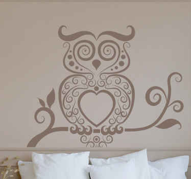Abstract Owl Glass Decal