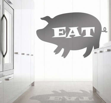 "Decals -Silhouette illustration of a pig with the work ""EAT"" in the centre. Ideal for the windows of restaurants and butcher shops."