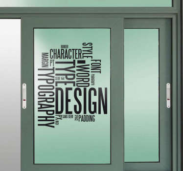 A sticker filled with graphical concept words. Superb decal to decorate walls, doors or any surface of your office.