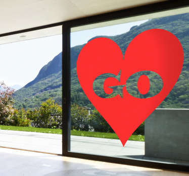 A brilliant heart wall sticker illustrating a monochrome design with the word 'Go'! Perfect for those looking for a romantic design. You can now decorate your window or any glass surface that seems with a warm and loving atmosphere with a decal from our set of love stickers.