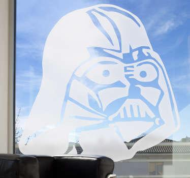 Adhesivo para decoración de cristaleras con uno de los protagonistas de la famosa trilogía de la saga Star Wars: Darth Vader.