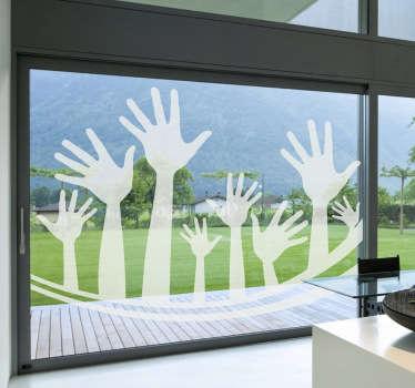 Originele sticker van allemaal handen die naar omhoog staan zoals bij een concert of festival! Je ziet verschillende groottes in handen!
