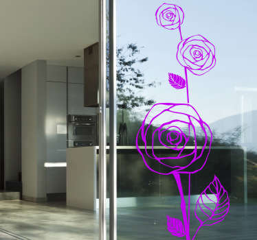 An elegant floral wall sticker illustrating the outline of three roses. Brilliant monochrome decal from our collection of flower wall stickers for your home. This unique flower decal is perfect for those that love plants and nature!