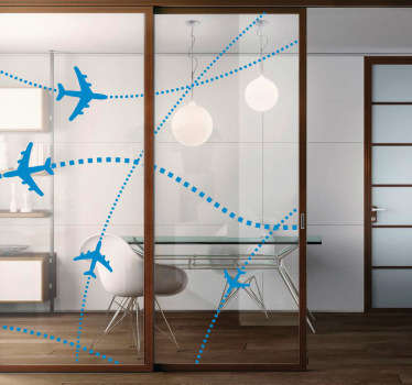 Airplane routes window sticker to decorate your home or office with a cool modern aesthetic. If you love travel or want to show off your international way of thinking, these plane decals are perfect for you and your business.