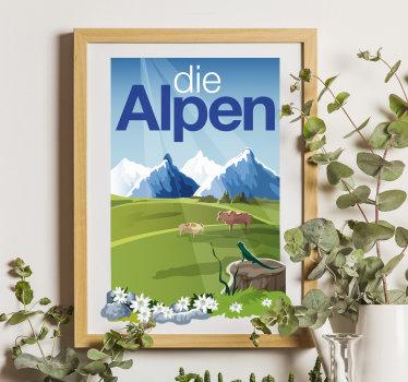 Ein dekorativer Wandaufkleber der Alpen, der als Banner und Rahmen für jeden gewünschten Zweck dient. Einfach aufzutragen.