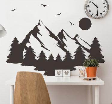 Diseño de vinilo adhesivo de pared de una montaña en silueta que está disponible en diferentes opciones de color. Fácil de aplicar sin arrugas.