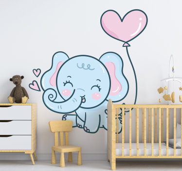 Decorative children wall sticker designed with an elephant with hearts . The design is of very high quality vinyl and will beautify any kid space.