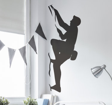 Decorative extreme sport wall sticker decal created with a person climbing in a silhouette style . It is available in colour and size options.