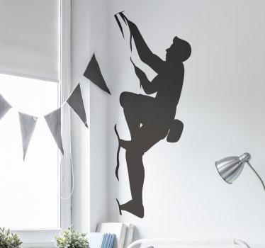 Vinilo decorativo de deporte extremo creado con una persona que escala en un estilo de silueta. Está disponible en opciones de color y tamaño.