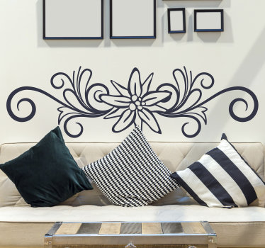 Decorative ornamental  floral wall decal available in different mono colour options to decorate any flat surface be it on the wall or object.