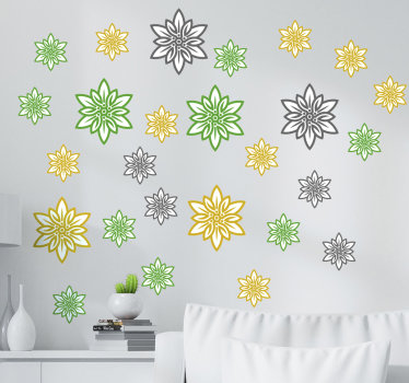 Decorative Edelweiss flower set wall sticker designed in multicolored and sizes. It contains a set of different size and colours of flower .