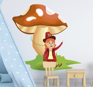 Decorative wall vinyl decal of elf and mushroom fantasy to beautify the space of kids and can be applied on any flat surface.