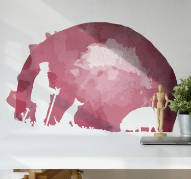 Buy our farm animal wall sticker silhouette with the design of a shepherd with flocks by the mountain. Easy to apply on any flat surface.