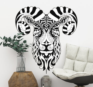 Easy to apply decorative wall decal of a wild ibex animal. The design can be in any mono colour and size of your preference.