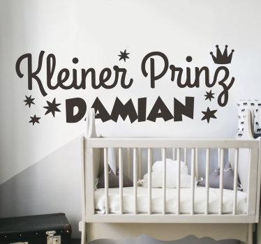 Wandtattoo Kinderzimmer design eines kleinen prinzen märchen mit einem personalisierbaren namen darauf. Wählte es in einer bevorzugten farbe und größe option.