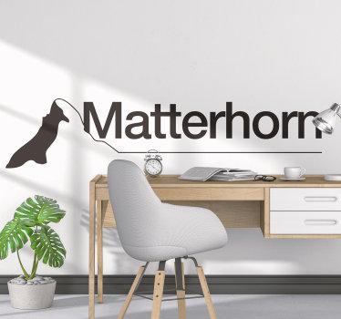 Aufkleberative silhouette zeichnung Wandtattoo von matterhorn berg, und es ist in verschiedenen farben und größen erhältlich. Die anwendung ist einfach.