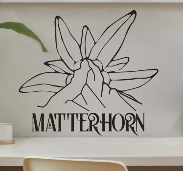 Einfach anzubringender wandkunstaufkleber von matterhorn-edelweiss im zeichnungsskizzenstil. Das design ist in verschiedenen farben und größen erhältlich.