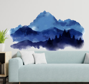 Nature themed wall sticker design of a paper cut mountain in deep multi colour .Beautiful ideal design for any flat wall surface.
