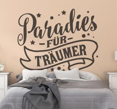 Paradies für träumer wand text aufkleber design mit schönen inhalten und schönen eigenschaften von sternen und mond erstellt. In verschiedenen farben erhältlich.