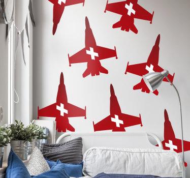 sticker  della casa facile da applicare creata con una pattuglia ottenere per la svizzera nel suo colore di rappresentazione della bandiera. Facile da applicare su una superficie piana.