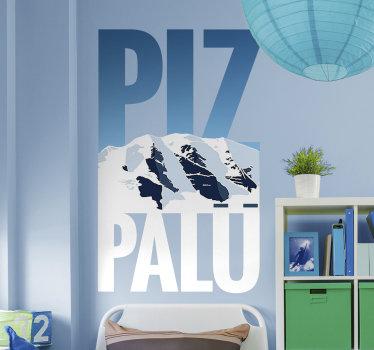 Aufkleberative und einfach anzubringende wandaufkleber von piz palü berg. Das design wird mit dem aussehen eines berges und text darauf erstellt.