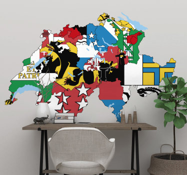 Aufkleberieren sie jeden flachen wandbereich mit unserem kartenwandaufkleber-design im schönen mehrfarbigen hintergrundflaggenstil. Einfach anzuwenden