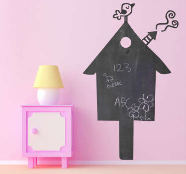 Creative and original kids sticker of a bird house but also a blackboard. Brilliant decal to decorate your kids room!