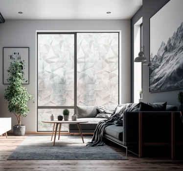 Compre nuestro vinilo para ventana de efecto 3d creado con formas geométricas en un hermoso fondo adecuado para decorar cualquier ventana.