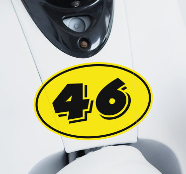 Easy to apply decorative motorcycle vinyl decal on yellow background with the number 46 on it.. It is suitable for any flat surface.