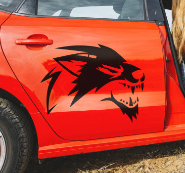 Decorative car vinyl sticker of a roaring wolf in silhouette to beautify any car of vehicle surface. Available in different colour.