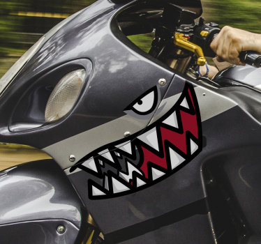 Decorative motorcycle sticker with the design of a shark teeth in beautiful colours . It can be applied on all motorbikes and even on car surface.