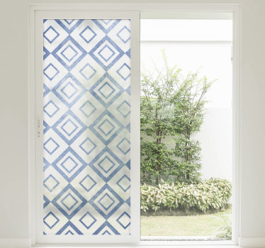 Decorative window decal with geometric shapes in multicolour and it can be applied on any window in the home. You can buy it in any size you want.