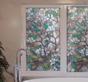 Disfrute de un hermoso espacio de ventana con nuestro diseño de vinilo pared de vinilo para ventana de flor de vidrio teñido. Está disponible en diversos tamaños.